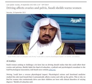 Driving affects ovaries and pelvis, Saudi sheikh warns women - A